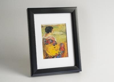 Рамка деревянная А4, цвет - черный матовый, строгая, (премиум), профиль - квадрат 21 мм