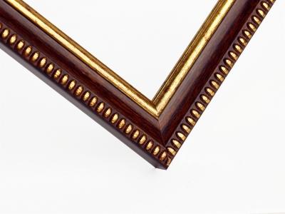 Рамка А4 пластиковая, цвет-коричневый с золотым орнаментом 16 мм