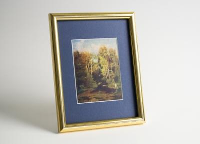 Рамка А4 пластиковая, цвет - золото глянцевое, профиль - полукруглый 14 мм