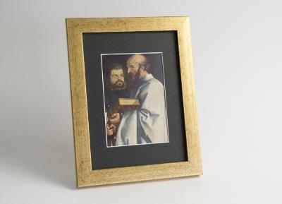 Рамка A4 пластиковая, цвет - золото состаренное, профиль - квадрат 22 мм