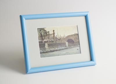 Рамка А4 пластиковая, цвет - голубой, профиль - полукруглый 14 мм