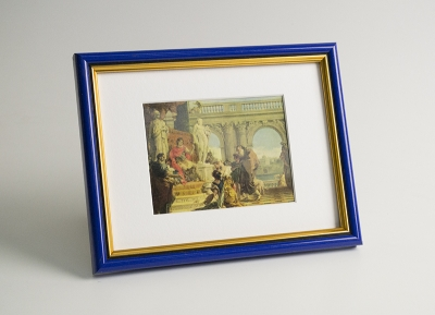 Рамка А4 пластиковая, цвет - синий глянцевый с золотом, профиль - полукруглый 16 мм