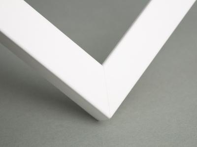 Рамка деревянная А4, цвет - белый матовый, строгая, (премиум), профиль - квадрат 21 мм