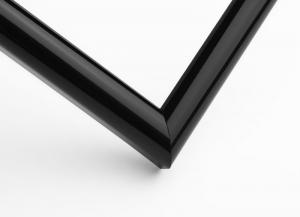 Рамка А4 пластиковая, цвет - черный глянцевый, профиль - полукруглый 13 мм