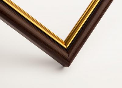 Рамка А4 пластиковая, цвет - темно-коричневое дерево с внутренним золотом, профиль - полукруглый 16 мм