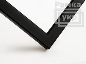 Рамка деревянная А4, цвет - черный матовый, профиль квадрат 16 мм