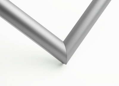 Рамка А4 пластиковая, цвет - серебро матовое, профиль - полукруглый 13 мм