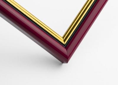 Рамка А4 пластиковая, цвет - вишневый с золотом, профиль - полукруглый 16 мм