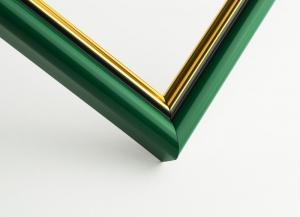 Рамка А4 пластиковая, ширина - 16 мм, цвет - зеленый с золотом